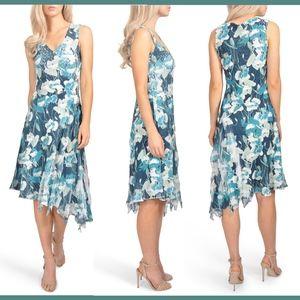 NEW Komarov Wild Lapis Floral Chiffon Dress Medium